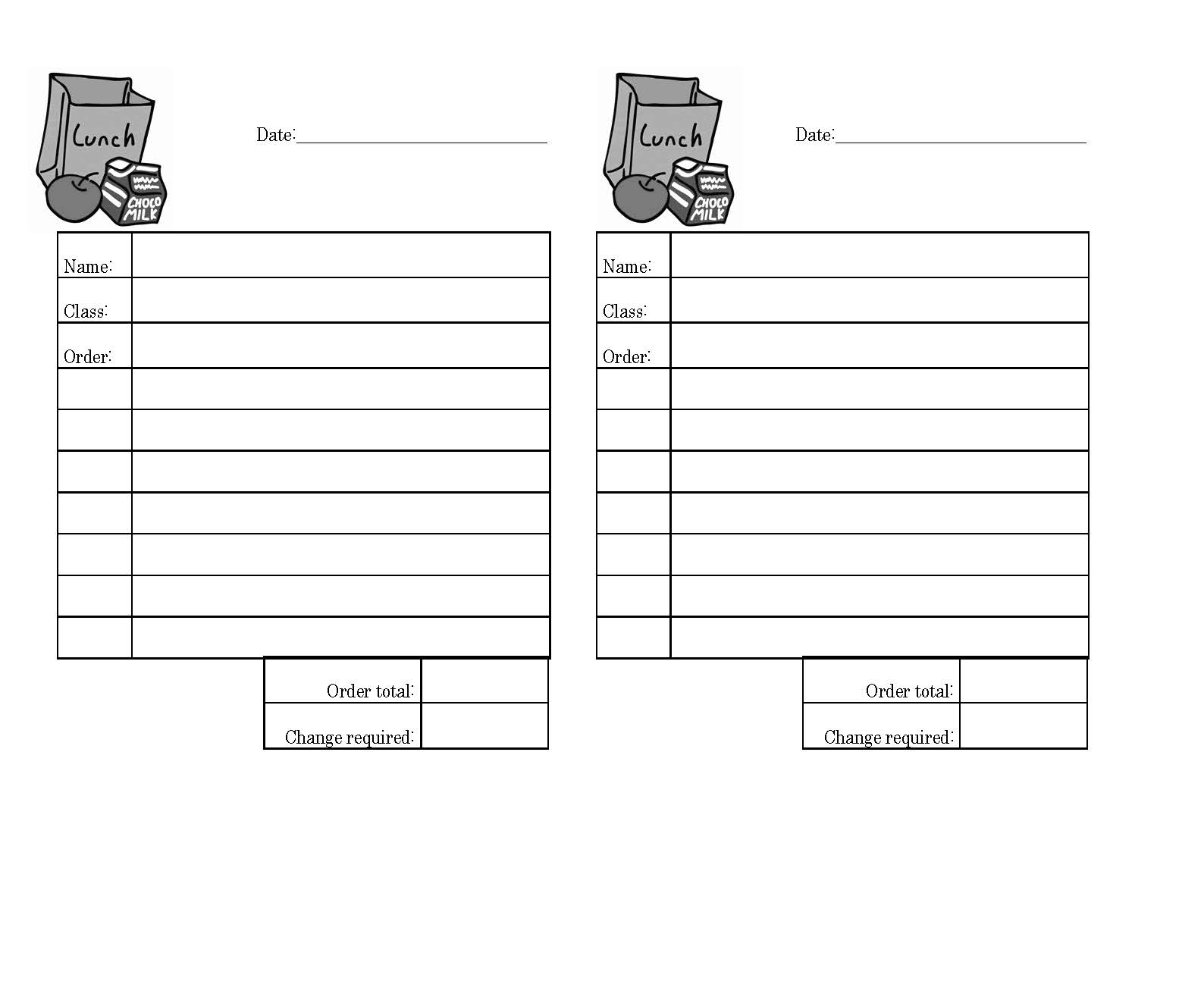 Office Lunch Order Form Template Under Bergdorfbib Co